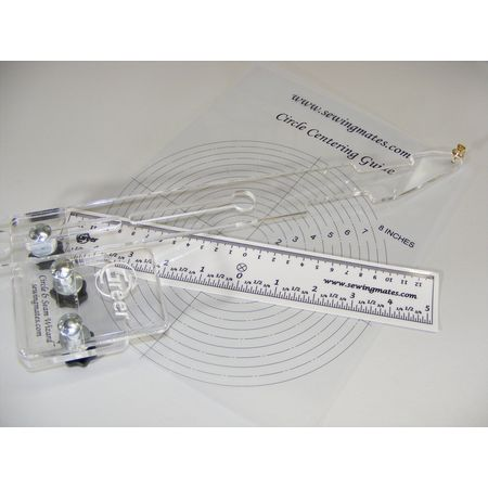 Circle and Seam Wizard comes with a static cling ruler and a transparent centering guide for accurate positioning.